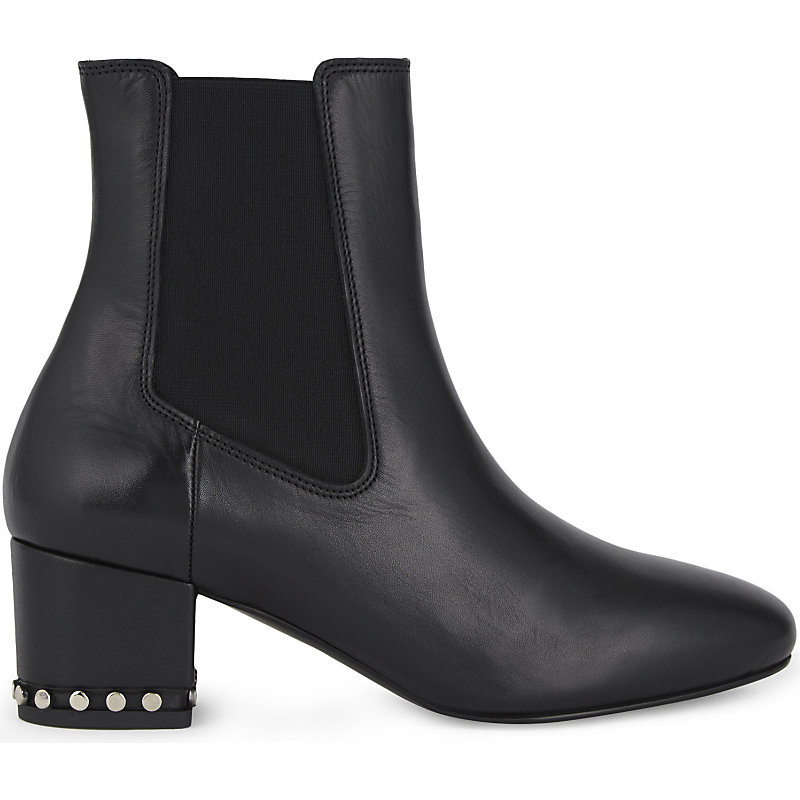 Adriel Leather Heeled Chelsea Boots, Women's, Size: Eur 40 / 7 Uk Women, Noir - predominant colour: black; occasions: casual; material: leather; heel height: high; embellishment: studs; heel: block; toe: pointed toe; boot length: ankle boot; style: standard; finish: plain; pattern: plain; season: a/w 2016; wardrobe: highlight