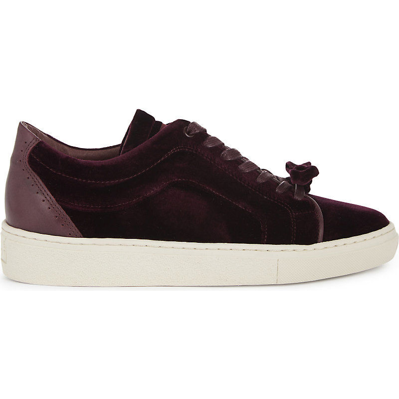 Adele Velvet Trainers, Women's, Eur 38 / 5 Uk Women, Red - predominant colour: burgundy; occasions: casual, activity; material: velvet; heel height: flat; toe: round toe; style: trainers; finish: plain; pattern: plain; shoe detail: platform; season: a/w 2016