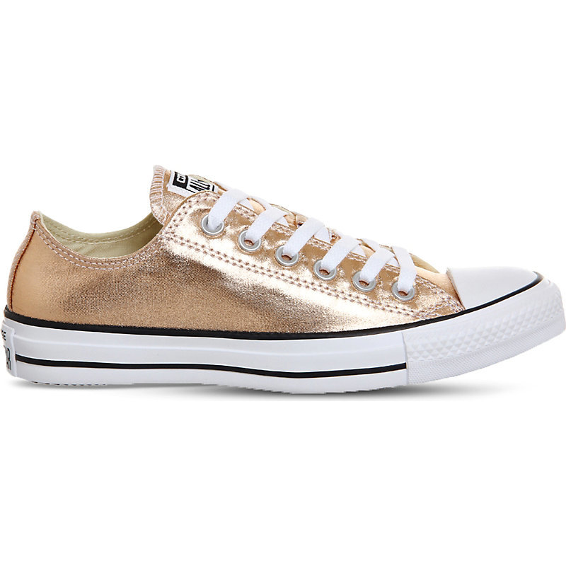 All Star Low Top Metallic Trainers, Women's, Metallic Sunset Glow - predominant colour: gold; occasions: casual; material: faux leather; heel height: flat; toe: round toe; style: trainers; finish: metallic; pattern: plain; wardrobe: basic; season: a/w 2016