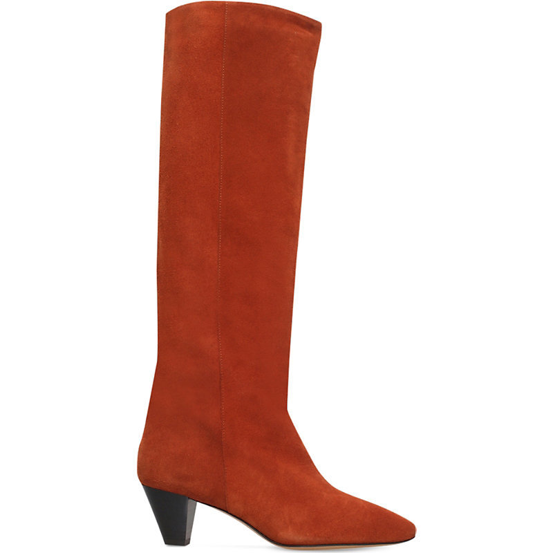 Étoile Robby Suede Knee High Boots, Women's, Eur 39 / 6 Uk Women, Brown - predominant colour: bright orange; occasions: casual; material: suede; heel height: mid; heel: cone; toe: pointed toe; boot length: knee; style: standard; finish: plain; pattern: plain; season: a/w 2016; wardrobe: highlight