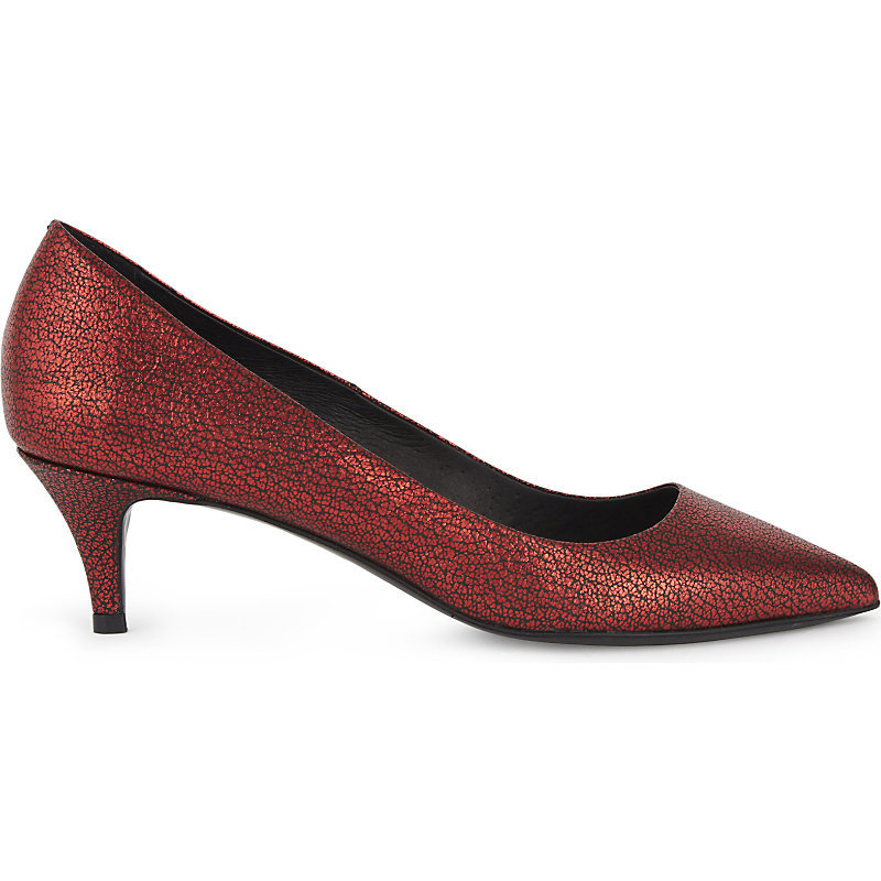 Fia Leather Courts, Women's, Eur 36 / 3 Uk Women, Rouge - predominant colour: bronze; occasions: evening; material: leather; heel height: mid; heel: kitten; toe: pointed toe; style: courts; finish: metallic; pattern: plain; season: a/w 2016; wardrobe: event