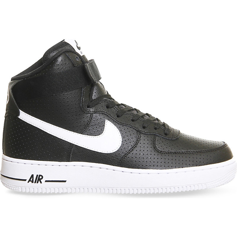 Air Force 1 Leather High Top Trainers, Women's, Black Perforated - predominant colour: black; occasions: casual, activity; material: leather; heel height: flat; toe: round toe; style: trainers; finish: plain; pattern: patterned/print; season: a/w 2016