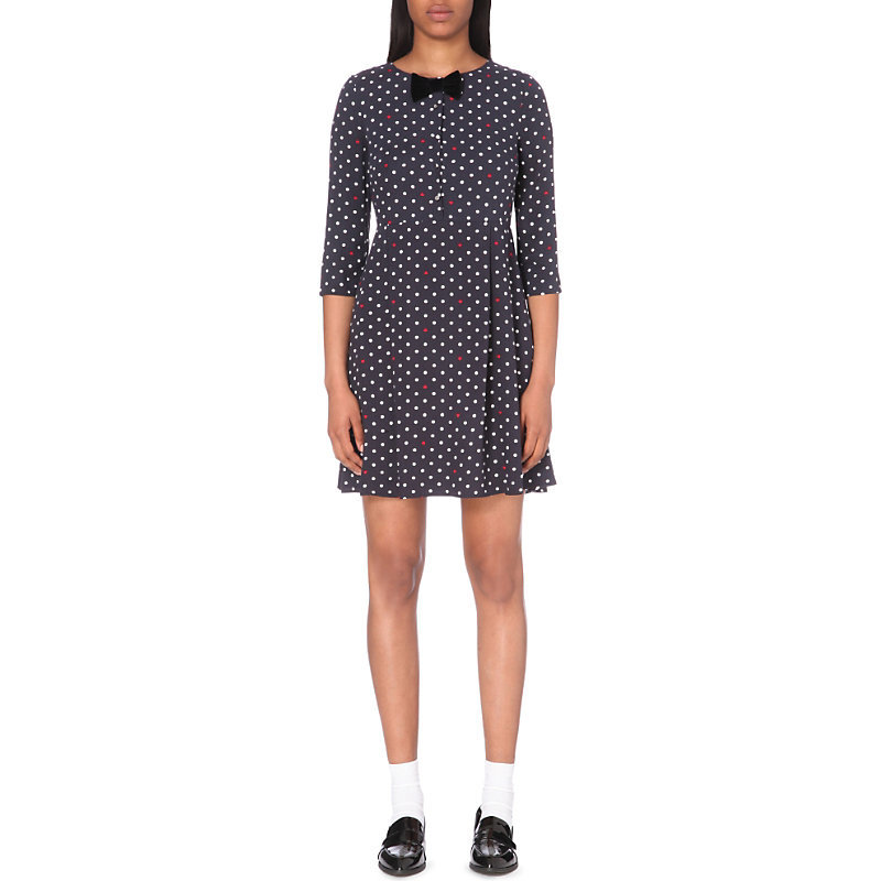 Romaine Jersey Dress, Women's, Bleu Officier - length: mid thigh; bust detail: added detail/embellishment at bust; pattern: polka dot; secondary colour: white; predominant colour: navy; occasions: evening; fit: fitted at waist & bust; style: fit & flare; fibres: viscose/rayon - 100%; neckline: crew; sleeve length: 3/4 length; sleeve style: standard; pattern type: fabric; texture group: jersey - stretchy/drapey; embellishment: bow; multicoloured: multicoloured; season: a/w 2016; wardrobe: event