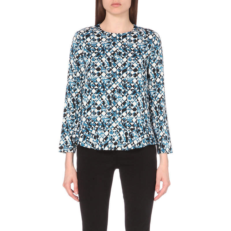 Galia Geometric Print Stretch Silk Top, Women's, Quartata Peacock - bust detail: ruching/gathering/draping/layers/pintuck pleats at bust; secondary colour: white; predominant colour: diva blue; occasions: evening; length: standard; style: top; fit: body skimming; neckline: crew; sleeve length: long sleeve; sleeve style: standard; texture group: silky - light; pattern type: fabric; pattern: patterned/print; fibres: silk - stretch; multicoloured: multicoloured; season: a/w 2016; wardrobe: event