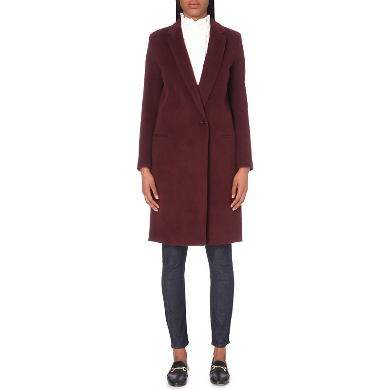 Gold Wool Blend Coat, Women's, Red - pattern: plain; style: single breasted; length: on the knee; fit: slim fit; collar: standard lapel/rever collar; predominant colour: burgundy; occasions: casual; fibres: wool - mix; sleeve length: long sleeve; sleeve style: standard; collar break: medium; pattern type: fabric; texture group: woven bulky/heavy; season: a/w 2016; wardrobe: highlight