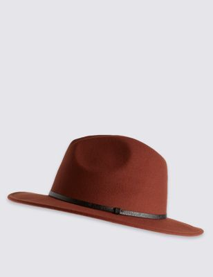 Fedora Hat - predominant colour: terracotta; occasions: casual; type of pattern: standard; style: fedora; size: standard; material: felt; pattern: plain; season: a/w 2016; wardrobe: highlight
