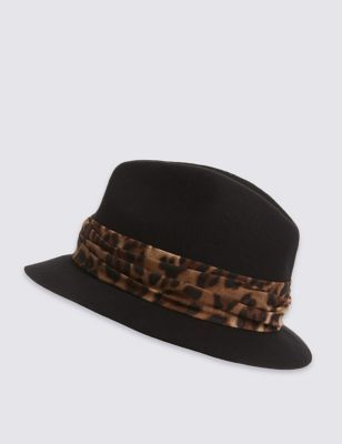 Pure Wool Trilby Hat - secondary colour: tan; predominant colour: black; occasions: casual, creative work; type of pattern: standard; embellishment: ribbon; style: trilby; size: standard; material: felt; pattern: animal print; season: a/w 2016; wardrobe: highlight