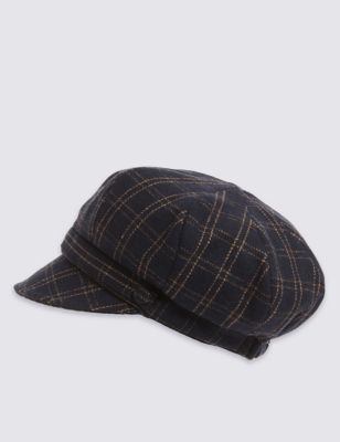 Check Baker Boy Hat - secondary colour: stone; predominant colour: black; occasions: casual; type of pattern: standard; style: bakerboy cap; size: standard; material: fabric; pattern: checked/gingham; season: a/w 2016; wardrobe: highlight