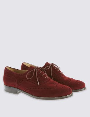 Suede Lace Up Brogue Shoes - predominant colour: burgundy; occasions: work, creative work; material: suede; heel height: flat; toe: round toe; style: brogues; finish: plain; pattern: plain; season: a/w 2016; wardrobe: highlight