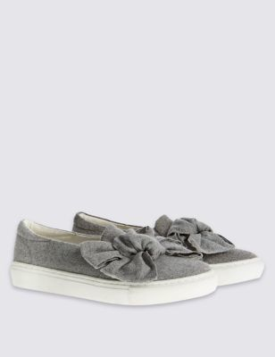 Bow Trainers With Insolia Flex - secondary colour: ivory/cream; predominant colour: mid grey; occasions: casual, creative work; material: fabric; heel height: flat; toe: round toe; finish: plain; pattern: colourblock; embellishment: bow; style: skate shoes; season: a/w 2016; wardrobe: highlight