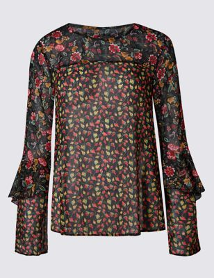 Floral Print Ruffle Long Sleeve Blouse - style: blouse; predominant colour: burgundy; secondary colour: primrose yellow; occasions: evening; length: standard; fibres: polyester/polyamide - 100%; fit: body skimming; neckline: crew; sleeve length: long sleeve; sleeve style: standard; texture group: sheer fabrics/chiffon/organza etc.; pattern type: fabric; pattern size: standard; pattern: florals; multicoloured: multicoloured; season: a/w 2016; wardrobe: event