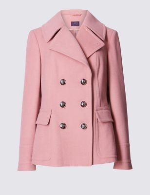 Peacoat Jacket - pattern: plain; length: standard; style: pea coat; collar: standard lapel/rever collar; hip detail: fitted at hip; predominant colour: pink; occasions: casual, creative work; fit: tailored/fitted; fibres: polyester/polyamide - stretch; sleeve length: long sleeve; sleeve style: standard; collar break: medium; pattern type: fabric; pattern size: standard; texture group: other - bulky/heavy; season: s/s 2016