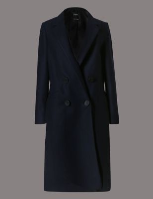 Double Breasted Coat - pattern: plain; style: double breasted; length: on the knee; collar: standard lapel/rever collar; hip detail: draws attention to hips; predominant colour: navy; occasions: work, creative work; fit: tailored/fitted; fibres: wool - 100%; sleeve length: long sleeve; sleeve style: standard; collar break: low/open; pattern type: fabric; texture group: woven bulky/heavy; wardrobe: investment; season: a/w 2016