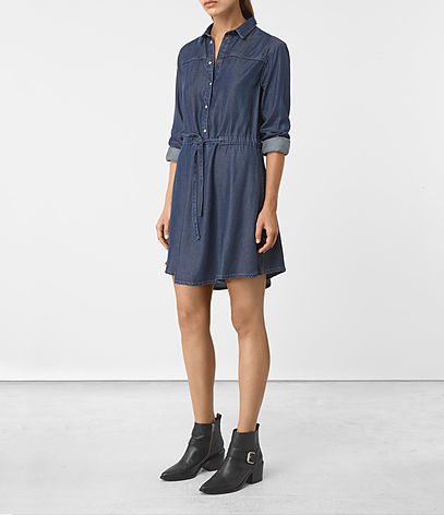 Sanko Denim Dress - style: shirt; neckline: shirt collar/peter pan/zip with opening; pattern: plain; waist detail: belted waist/tie at waist/drawstring; predominant colour: navy; occasions: casual; length: just above the knee; fit: body skimming; fibres: cotton - 100%; sleeve length: 3/4 length; sleeve style: standard; texture group: denim; pattern type: fabric; wardrobe: basic; season: a/w 2016