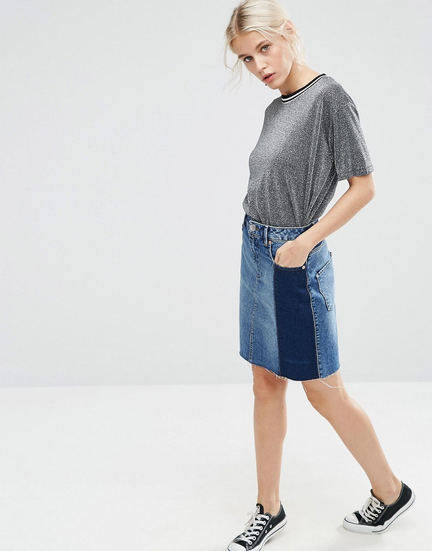 Denim Deconstructed Mini Pelmet Skirt Blue - length: mid thigh; pattern: plain; fit: body skimming; waist: mid/regular rise; predominant colour: denim; occasions: casual; style: mini skirt; fibres: cotton - 100%; texture group: denim; pattern type: fabric; wardrobe: basic; season: a/w 2016