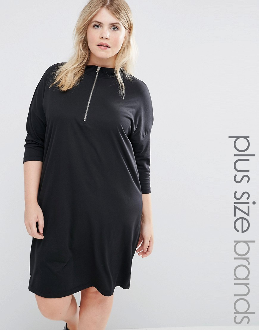 Drop Shoulder Funnel Neck Jersey Dress Black - style: shift; pattern: plain; predominant colour: black; occasions: evening; length: just above the knee; fit: body skimming; fibres: polyester/polyamide - stretch; neckline: crew; sleeve length: 3/4 length; sleeve style: standard; pattern type: fabric; texture group: jersey - stretchy/drapey; season: a/w 2016; wardrobe: event