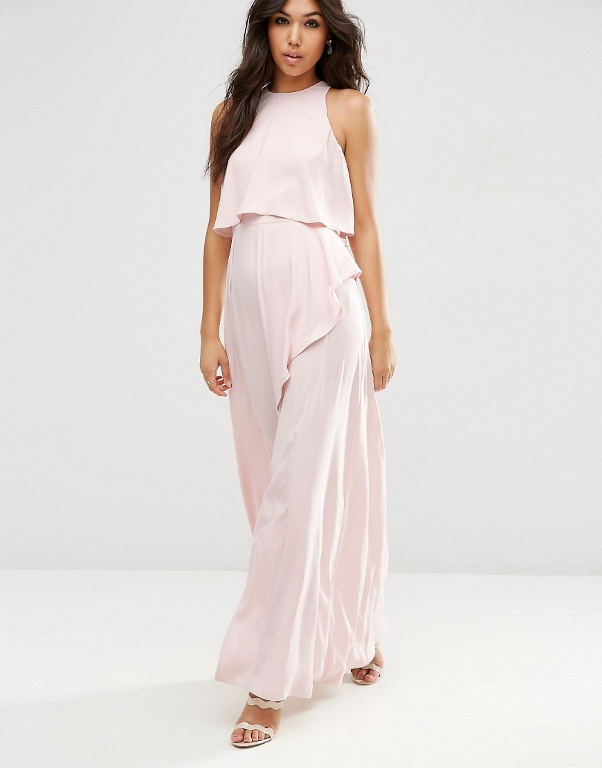 Crop Top Ruffle Split Maxi Dress Nude - pattern: plain; sleeve style: sleeveless; style: maxi dress; bust detail: subtle bust detail; predominant colour: blush; occasions: evening; length: floor length; fit: body skimming; fibres: polyester/polyamide - 100%; neckline: crew; sleeve length: sleeveless; pattern type: fabric; texture group: jersey - stretchy/drapey; season: a/w 2016; wardrobe: event