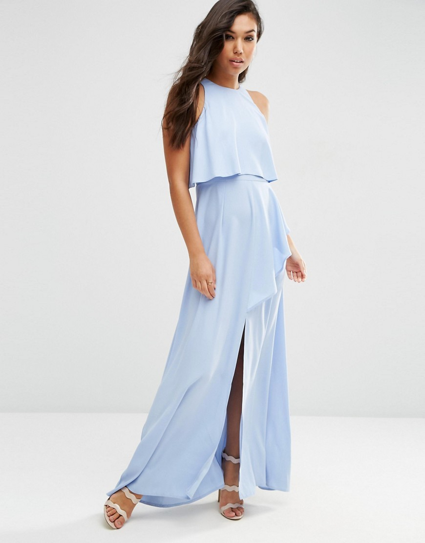 Crop Top Ruffle Split Maxi Dress Blue - pattern: plain; sleeve style: sleeveless; style: maxi dress; length: ankle length; hip detail: draws attention to hips; bust detail: subtle bust detail; predominant colour: pale blue; occasions: evening; fit: body skimming; fibres: polyester/polyamide - 100%; neckline: crew; sleeve length: sleeveless; pattern type: fabric; texture group: jersey - stretchy/drapey; season: a/w 2016; wardrobe: event