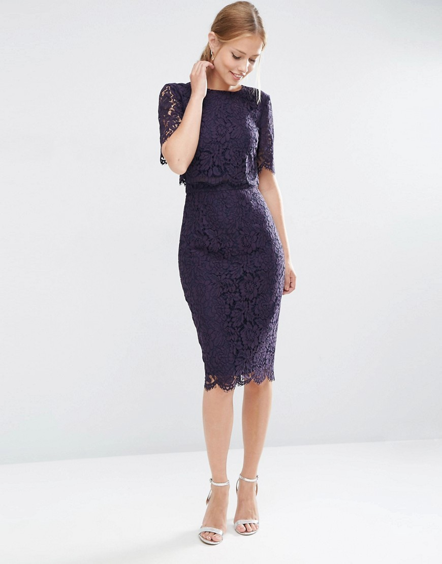 Lace Crop Top Midi Pencil Dress Navy - style: shift; length: below the knee; fit: tight; bust detail: ruching/gathering/draping/layers/pintuck pleats at bust; predominant colour: navy; occasions: evening; fibres: cotton - mix; neckline: crew; sleeve length: short sleeve; sleeve style: standard; texture group: lace; pattern type: fabric; pattern size: standard; pattern: patterned/print; season: a/w 2016