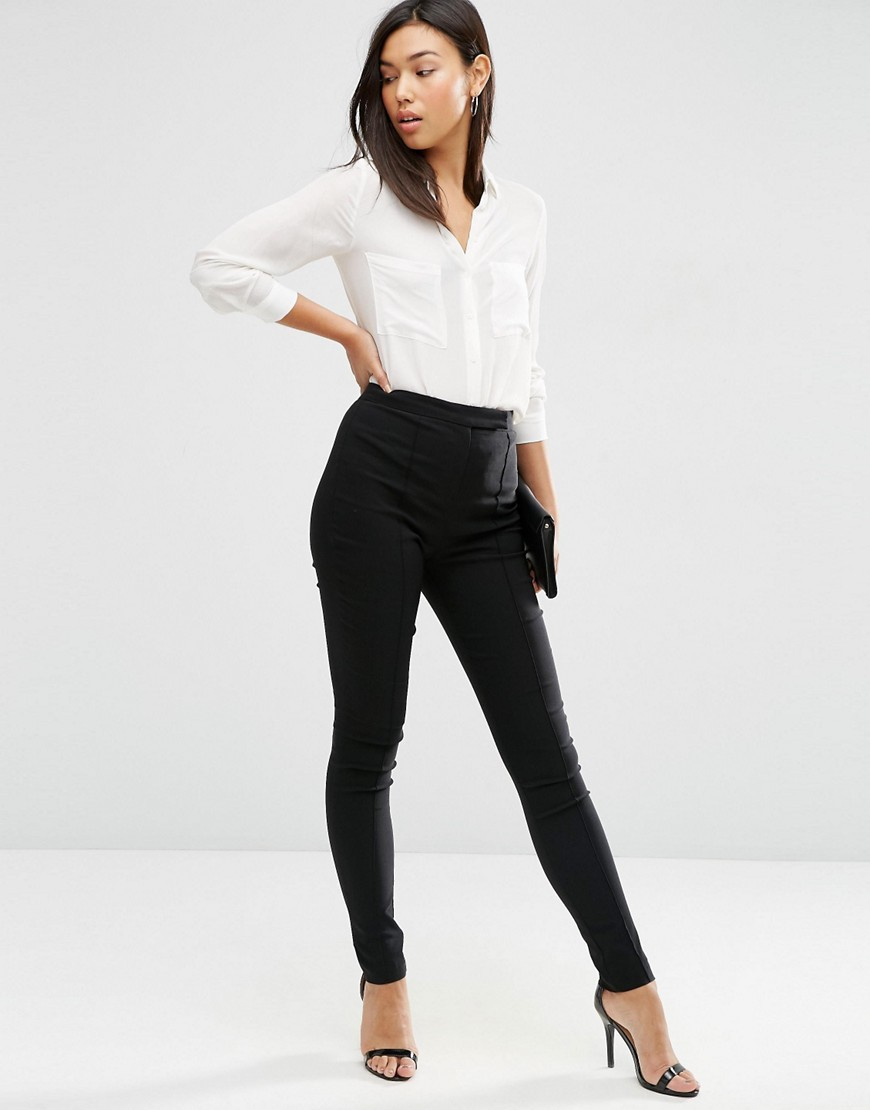 High Waist Trousers In Skinny Fit Black - pattern: plain; style: leggings; waist: mid/regular rise; predominant colour: black; occasions: casual, creative work; length: ankle length; texture group: jersey - clingy; fit: skinny/tight leg; pattern type: fabric; fibres: viscose/rayon - mix; pattern size: standard (bottom); wardrobe: basic; season: a/w 2016