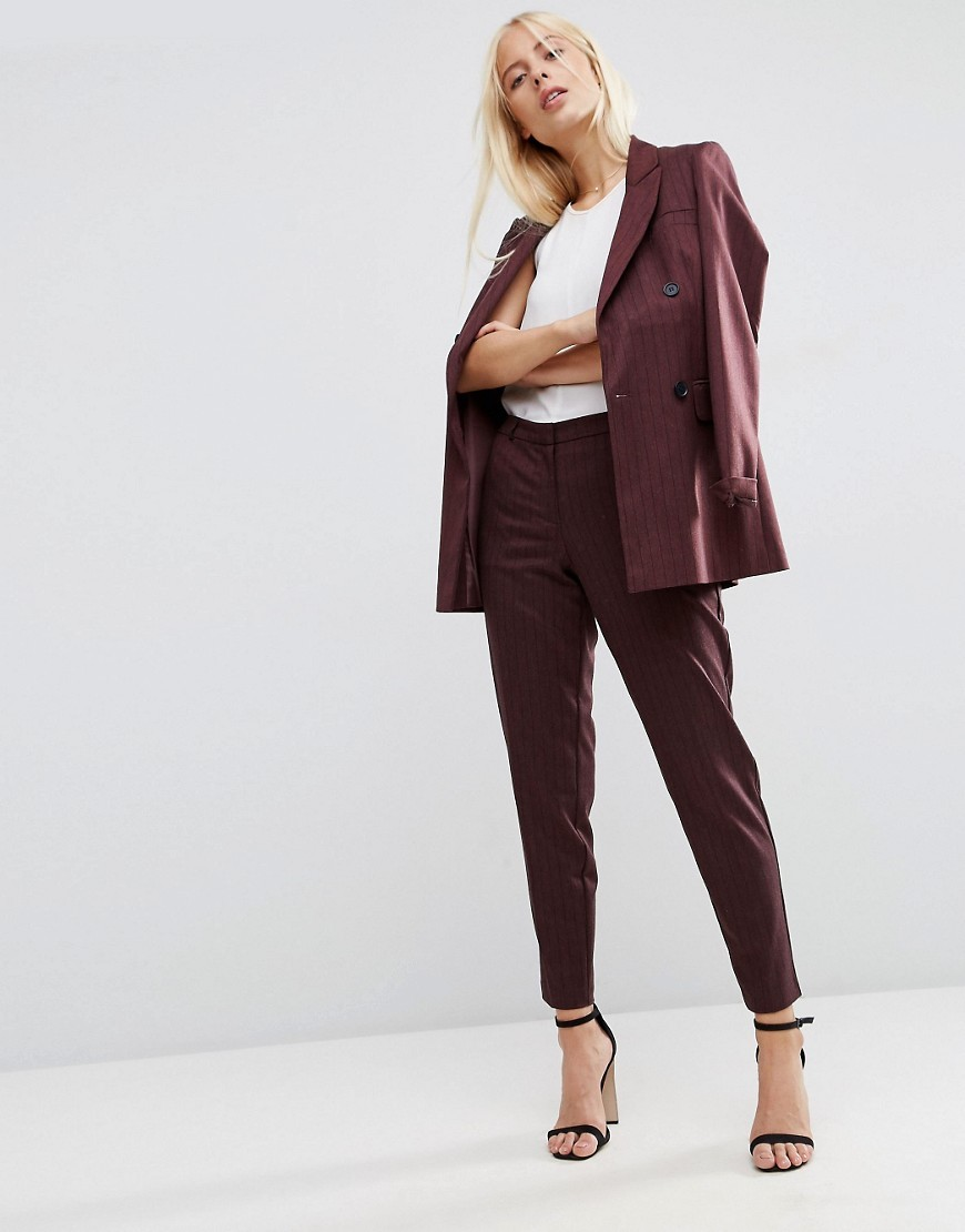 Mansy Pinstripe Tapered Trousers Burgundy - pattern: plain; style: peg leg; waist: mid/regular rise; predominant colour: burgundy; occasions: casual, creative work; length: ankle length; fibres: polyester/polyamide - stretch; fit: tapered; pattern type: fabric; texture group: woven light midweight; season: a/w 2016; wardrobe: highlight