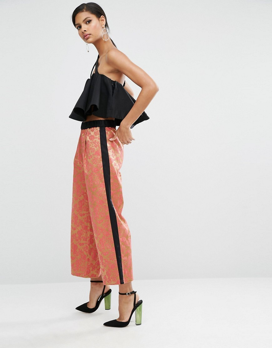 Jacquard Wide Leg Trousers With Side Stripe Multi - waist: mid/regular rise; predominant colour: coral; secondary colour: black; occasions: casual; length: ankle length; fibres: cotton - stretch; fit: straight leg; pattern type: fabric; pattern: colourblock; texture group: woven light midweight; style: standard; pattern size: light/subtle (bottom); season: a/w 2016; wardrobe: highlight
