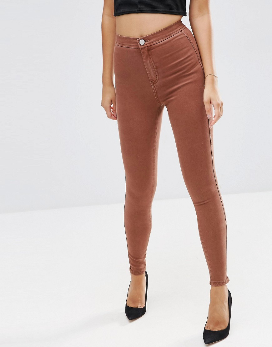 Rivington High Waist Denim Jeggings In Burnt Orange Burnt Orange - length: standard; pattern: plain; waist: high rise; style: jeggings; predominant colour: terracotta; occasions: casual; fibres: cotton - stretch; texture group: denim; pattern type: fabric; season: a/w 2016; wardrobe: highlight