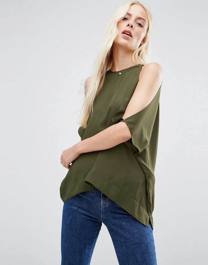 Kimono Tee With Cold Shoulder Khaki - pattern: plain; length: below the bottom; predominant colour: khaki; occasions: casual; style: top; fibres: polyester/polyamide - 100%; fit: loose; neckline: crew; shoulder detail: cut out shoulder; sleeve length: half sleeve; sleeve style: standard; texture group: sheer fabrics/chiffon/organza etc.; pattern type: fabric; season: a/w 2016; wardrobe: highlight