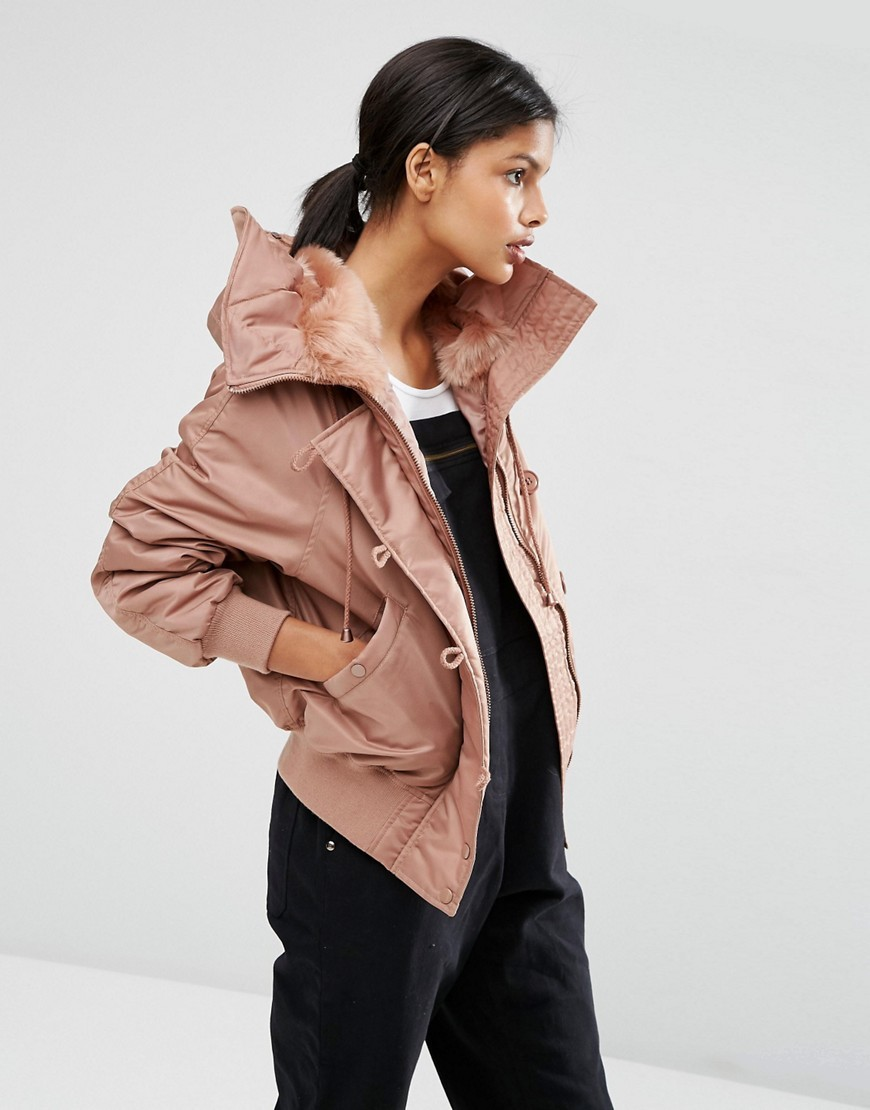 Bomber Jacket With Faux Fur Hood Mink - pattern: plain; collar: funnel; fit: loose; style: bomber; predominant colour: blush; occasions: casual; length: standard; fibres: polyester/polyamide - 100%; sleeve length: long sleeve; sleeve style: standard; texture group: technical outdoor fabrics; collar break: high; pattern type: fabric; embellishment: fur; season: a/w 2016