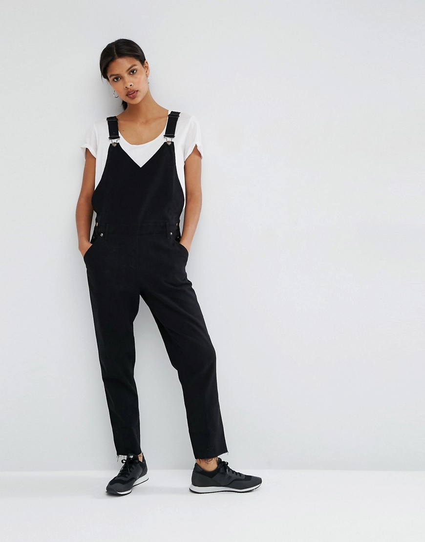 90's Dungaree With Wrap Front Detail Black - length: standard; neckline: low v-neck; sleeve style: standard vest straps/shoulder straps; pattern: plain; hip detail: fitted at hip; predominant colour: black; occasions: casual; fit: body skimming; fibres: cotton - stretch; sleeve length: sleeveless; texture group: denim; style: dungarees; pattern type: fabric; season: a/w 2016