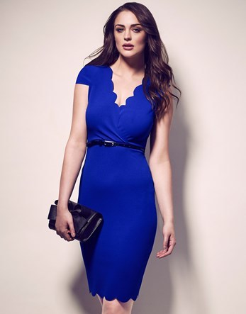 Scallop V Neck Belted Dress - neckline: v-neck; sleeve style: capped; fit: tight; pattern: plain; style: bodycon; waist detail: belted waist/tie at waist/drawstring; predominant colour: royal blue; occasions: evening; length: just above the knee; fibres: polyester/polyamide - stretch; sleeve length: short sleeve; texture group: jersey - clingy; pattern type: fabric; season: a/w 2016; wardrobe: event