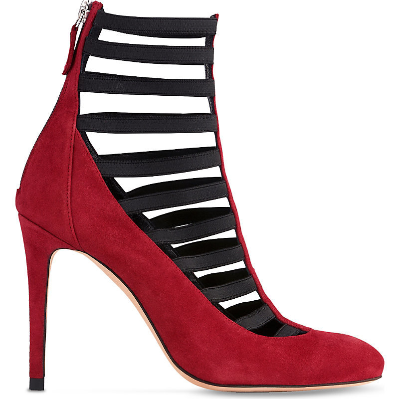 Federica Caged Suede Court Shoes, Women's, Eur 38 / 5 Uk Women, Pin Raspberry - predominant colour: true red; secondary colour: black; occasions: evening; material: suede; heel height: high; ankle detail: ankle strap; heel: stiletto; toe: round toe; style: courts; finish: plain; pattern: plain; multicoloured: multicoloured; season: a/w 2016; wardrobe: event