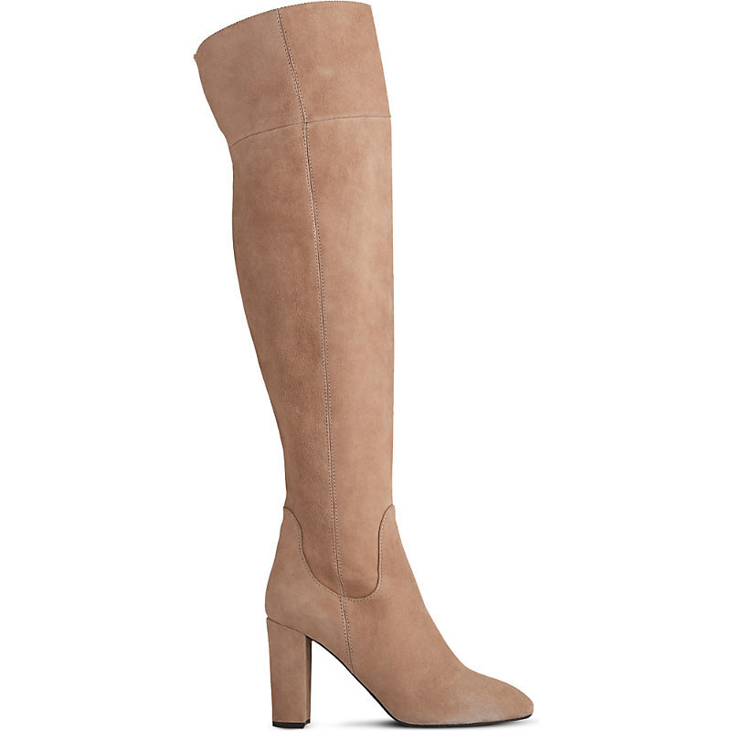 Kaelynn Suede Over The Knee Boots, Women's, Eur 41 / 8 Uk Women, Bro Latte - predominant colour: nude; occasions: casual; material: suede; heel height: high; heel: block; toe: round toe; boot length: over the knee; style: standard; finish: plain; pattern: plain; wardrobe: investment; season: a/w 2016