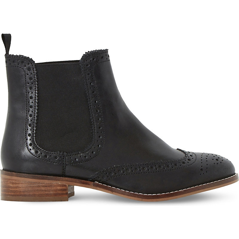 Brogue Leather Chelsea Boots, Women's, Eur 40 / 7 Uk Women, Black Leather - predominant colour: black; occasions: casual; material: leather; heel height: flat; heel: standard; toe: round toe; boot length: ankle boot; style: standard; finish: patent; pattern: plain; wardrobe: basic; season: a/w 2016