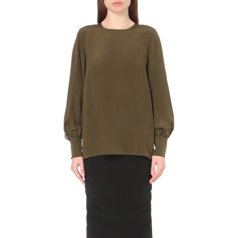 Lia Silk Top, Women's, Green - pattern: plain; length: below the bottom; style: blouse; predominant colour: khaki; occasions: evening; fibres: silk - 100%; fit: body skimming; neckline: crew; sleeve length: long sleeve; sleeve style: standard; texture group: silky - light; pattern type: fabric; season: a/w 2016; wardrobe: event