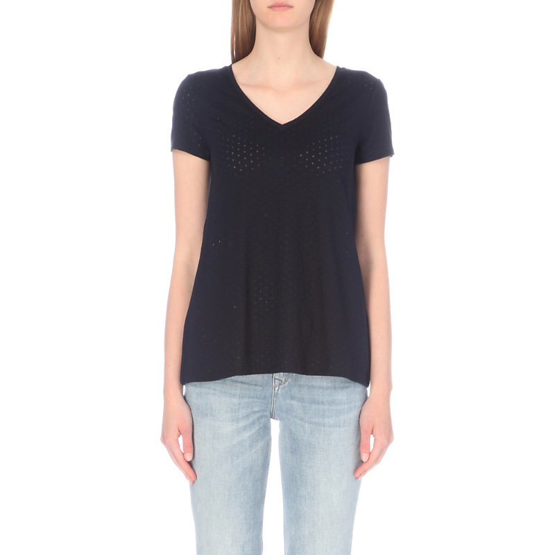 V Neck Devoré Cotton Blend Swing Top, Women's, Blue - neckline: v-neck; pattern: plain; style: t-shirt; predominant colour: navy; occasions: casual; length: standard; fibres: cotton - mix; fit: body skimming; sleeve length: short sleeve; sleeve style: standard; pattern type: fabric; texture group: jersey - stretchy/drapey; wardrobe: basic; season: a/w 2016