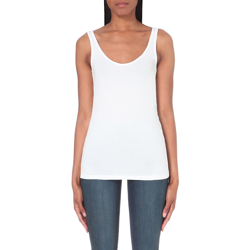 Essential Vest, Women's, White - pattern: plain; sleeve style: sleeveless; style: vest top; predominant colour: white; occasions: casual; length: standard; neckline: scoop; fibres: cotton - stretch; fit: body skimming; sleeve length: sleeveless; pattern type: fabric; texture group: jersey - stretchy/drapey; wardrobe: basic; season: a/w 2016