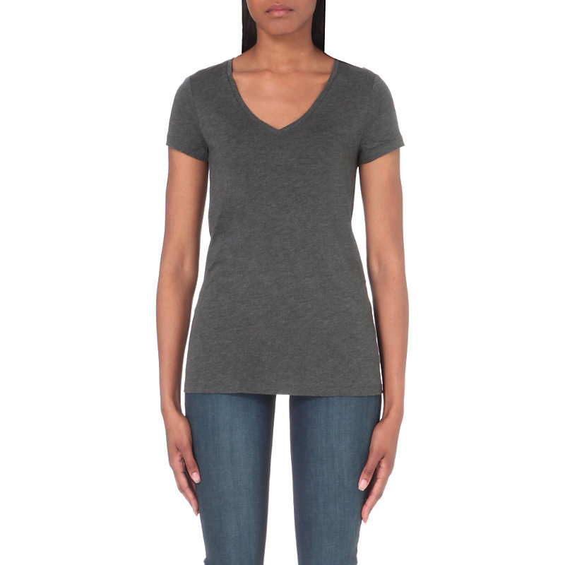 V Neck Swing T Shirt, Women's, Darkcharcmarl - neckline: v-neck; pattern: plain; style: t-shirt; predominant colour: mid grey; occasions: casual; length: standard; fibres: cotton - stretch; fit: body skimming; sleeve length: short sleeve; sleeve style: standard; pattern type: fabric; texture group: jersey - stretchy/drapey; wardrobe: basic; season: a/w 2016
