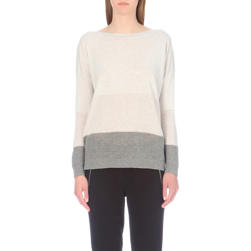 Striped Wool And Cashmere Jumper, Women's, Grey/Tan - style: standard; predominant colour: white; secondary colour: light grey; occasions: casual; length: standard; fibres: wool - mix; fit: standard fit; neckline: crew; sleeve length: long sleeve; sleeve style: standard; texture group: knits/crochet; pattern type: fabric; pattern: colourblock; multicoloured: multicoloured; season: a/w 2016; wardrobe: highlight