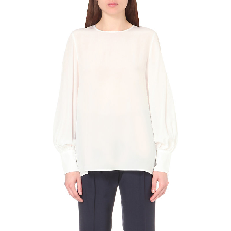 Lia Silk Top, Women's, White - pattern: plain; length: below the bottom; style: blouse; predominant colour: white; occasions: evening; fibres: silk - 100%; fit: body skimming; neckline: crew; sleeve length: long sleeve; sleeve style: standard; texture group: silky - light; pattern type: fabric; season: a/w 2016; wardrobe: event