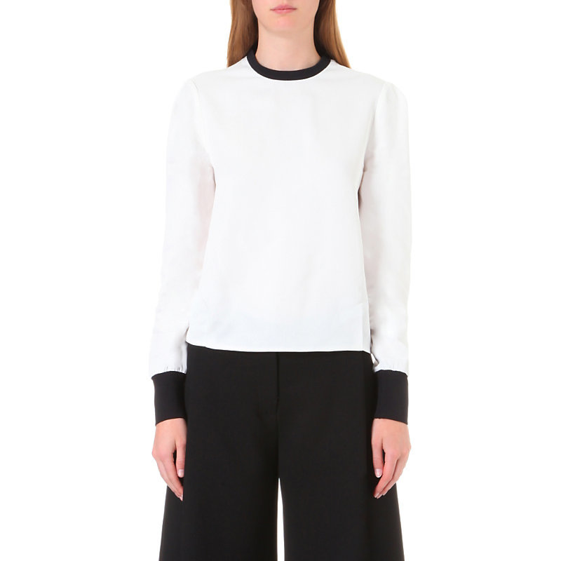 Contrasting Trim Twill Shirt, Women's, Black/Nude/Black - pattern: plain; style: blouse; predominant colour: ivory/cream; secondary colour: black; occasions: evening; length: standard; fit: body skimming; neckline: crew; sleeve length: long sleeve; sleeve style: standard; pattern type: fabric; texture group: other - light to midweight; fibres: viscose/rayon - mix; multicoloured: multicoloured; season: a/w 2016; wardrobe: event