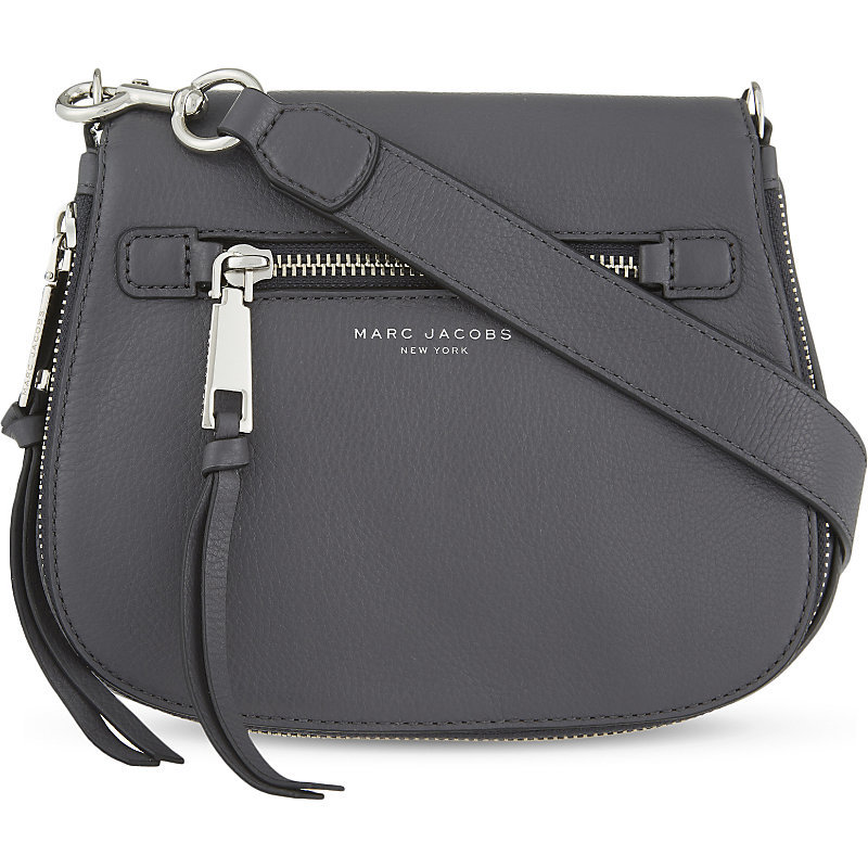 Recruit Small Grained Leather Saddle Bag, Women's, Black - predominant colour: mid grey; occasions: casual; type of pattern: standard; style: saddle; length: across body/long; size: small; material: leather; pattern: plain; finish: plain; season: a/w 2016