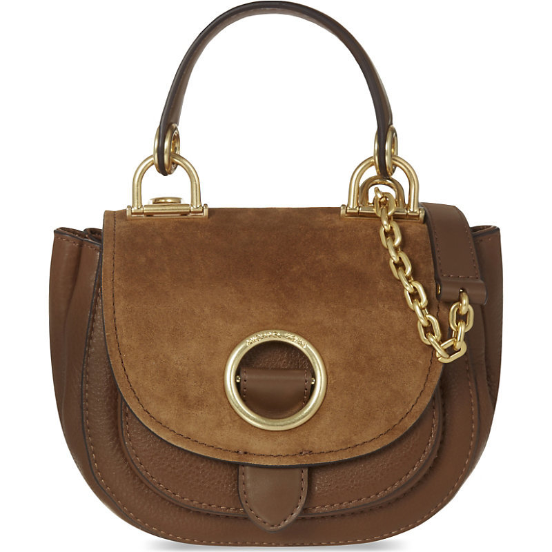 Isadore Suede Messenger Bag, Dk Caramel - predominant colour: chocolate brown; secondary colour: gold; occasions: casual, creative work; type of pattern: standard; style: saddle; length: handle; size: standard; material: leather; pattern: plain; finish: plain; embellishment: chain/metal; season: a/w 2016; wardrobe: highlight