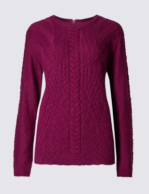 Cotton Blend Cable Knit Jumper - style: standard; pattern: cable knit; predominant colour: hot pink; occasions: casual; length: standard; fibres: cotton - mix; fit: slim fit; neckline: crew; sleeve length: long sleeve; sleeve style: standard; texture group: knits/crochet; pattern type: fabric; pattern size: standard; season: a/w 2016; wardrobe: highlight