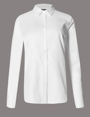 Pure Cotton Long Sleeve Shirt - neckline: shirt collar/peter pan/zip with opening; pattern: plain; style: shirt; predominant colour: white; occasions: work; length: standard; fibres: cotton - 100%; fit: body skimming; sleeve length: long sleeve; sleeve style: standard; texture group: cotton feel fabrics; pattern type: fabric; wardrobe: basic; season: a/w 2016