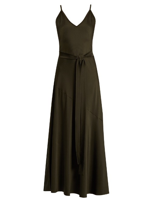 Libero Gown - neckline: v-neck; sleeve style: spaghetti straps; pattern: plain; style: maxi dress; length: ankle length; predominant colour: black; occasions: evening; fit: body skimming; sleeve length: sleeveless; pattern type: fabric; texture group: jersey - stretchy/drapey; fibres: viscose/rayon - mix; season: a/w 2016; wardrobe: event