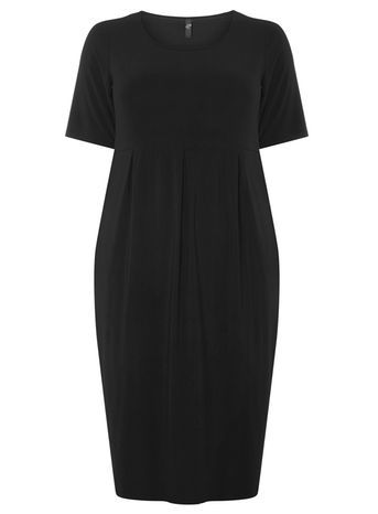 Black Pocket Jersey Dress - style: shift; neckline: round neck; fit: tailored/fitted; pattern: plain; predominant colour: black; occasions: evening, work; length: just above the knee; fibres: polyester/polyamide - stretch; sleeve length: short sleeve; sleeve style: standard; pattern type: fabric; pattern size: standard; texture group: jersey - stretchy/drapey; season: a/w 2016