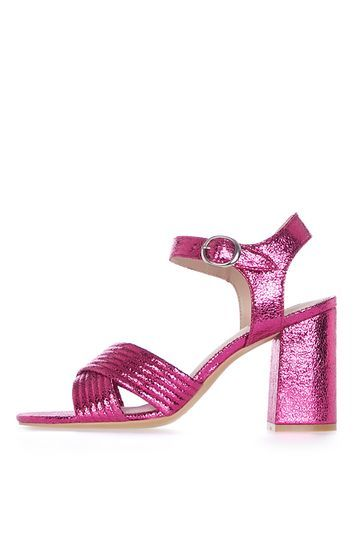 Radiant Metallic Sandals - predominant colour: hot pink; occasions: evening, occasion; material: faux leather; heel height: high; embellishment: glitter; ankle detail: ankle strap; heel: block; toe: open toe/peeptoe; style: strappy; finish: metallic; pattern: plain; season: a/w 2016; wardrobe: event; trends: metallics
