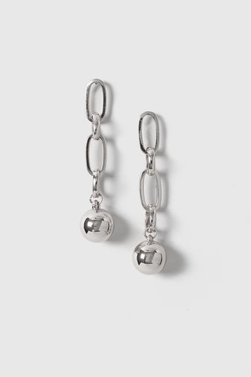 Chain Ball Drop Earrings - predominant colour: silver; occasions: evening, occasion; length: long; size: standard; material: chain/metal; fastening: pierced; finish: metallic; embellishment: pearls; style: ear cuffs; season: a/w 2016; wardrobe: event