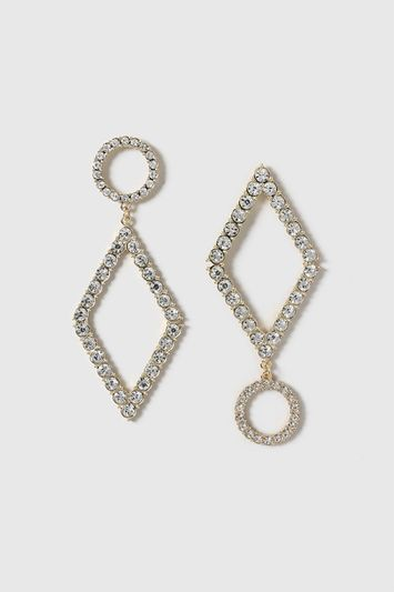 Mismatch Earrings - predominant colour: gold; occasions: evening, occasion; style: drop; length: long; size: large/oversized; material: chain/metal; fastening: pierced; finish: metallic; embellishment: crystals/glass; secondary colour: clear; season: a/w 2016; wardrobe: event